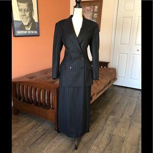 RALPH LAUREN VINTAGE black pinstripe skirt suit